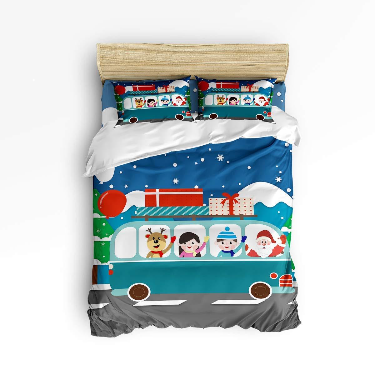 VAMIX サンタクロースがバスに送るギフト 寝具4点セット 掛け布団カバー クリスマスシーズン 高級ソフトフラットシーツセット 装飾枕シャム付き 10代の女の子 男の子 男性 女性 子供用 クイーン LFFMARNM11210EWLYX-SWTQ01499SJTCZLH B07QHXBSVV Christmas Gift Car クイーン