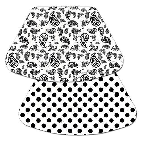 (Counterart Reversible Wedge Placemat - Poka Dots and Paisley Black & White)