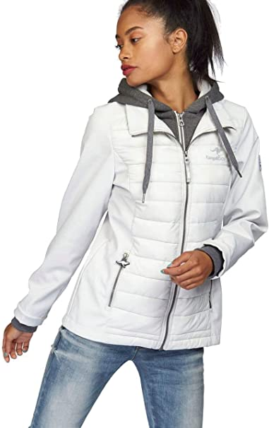 KangaROOS Damen Jacke Materialmix Softshell Steppjacke Sweat