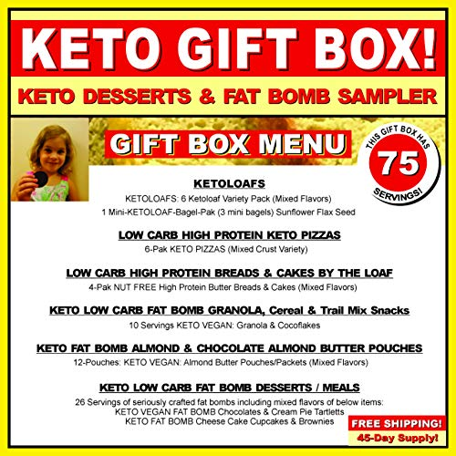 KETO BAKERY LOW CARB PIZZA & FAT BOMB HOLIDAY GIFT BOX ~ 75 Servings! GLUTEN FREE! NO SUGARS ADDED! HIGH FAT LOW CARB DESSERT MEALS, FAT BOMBS by KETO TO GO (Image #1)