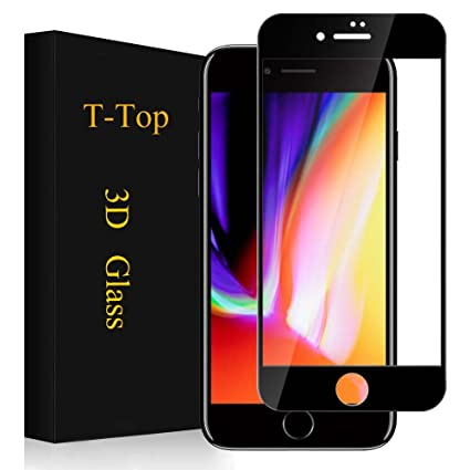 newest d3968 dafe9 Amazon.com: iPhone 8 Plus Screen Protector Full Coverage, T-Top 3D ...