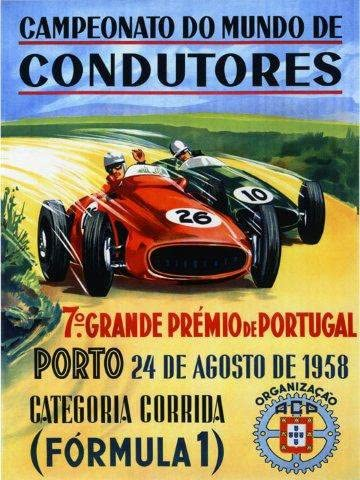 1958 Formula 1 Portugal Porto Car Race Grand Prix Vintage Poster Repro FREE S//H