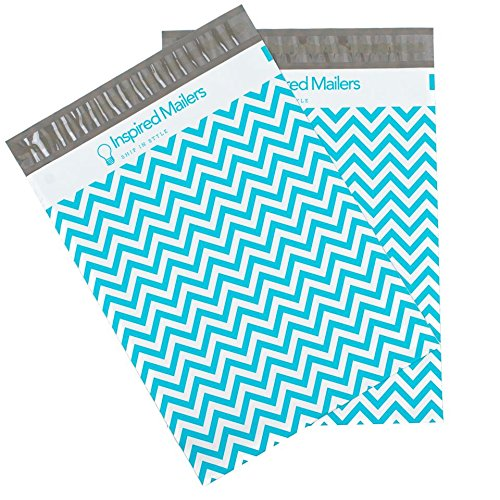 Inspired Mailers Poly Mailers 14.5x19 Blue Chevron – Pack of 50 – Unpadded Shipping Bags