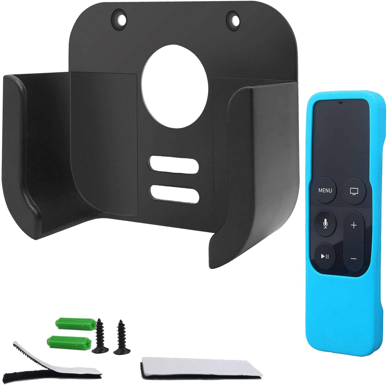Wall Mount Bracket Compatible with Apple TV 4K 5th and 4th Generation - HJYuan TV Mount Holder with Blue Siri Remote Silicone Protective Case Cover Compatible with Apple TV 4K 5th and 4th Gen