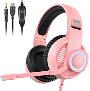 Gaming Headset Xbox Headset with Mic, 50mm Dual Driver Stereo Surround Sound, PS4 Gaming Headset with LED Light Noise Cancelling Over Ear Headphones Compatible with PC PS4 PS5 Xbox One Mac (Pink)