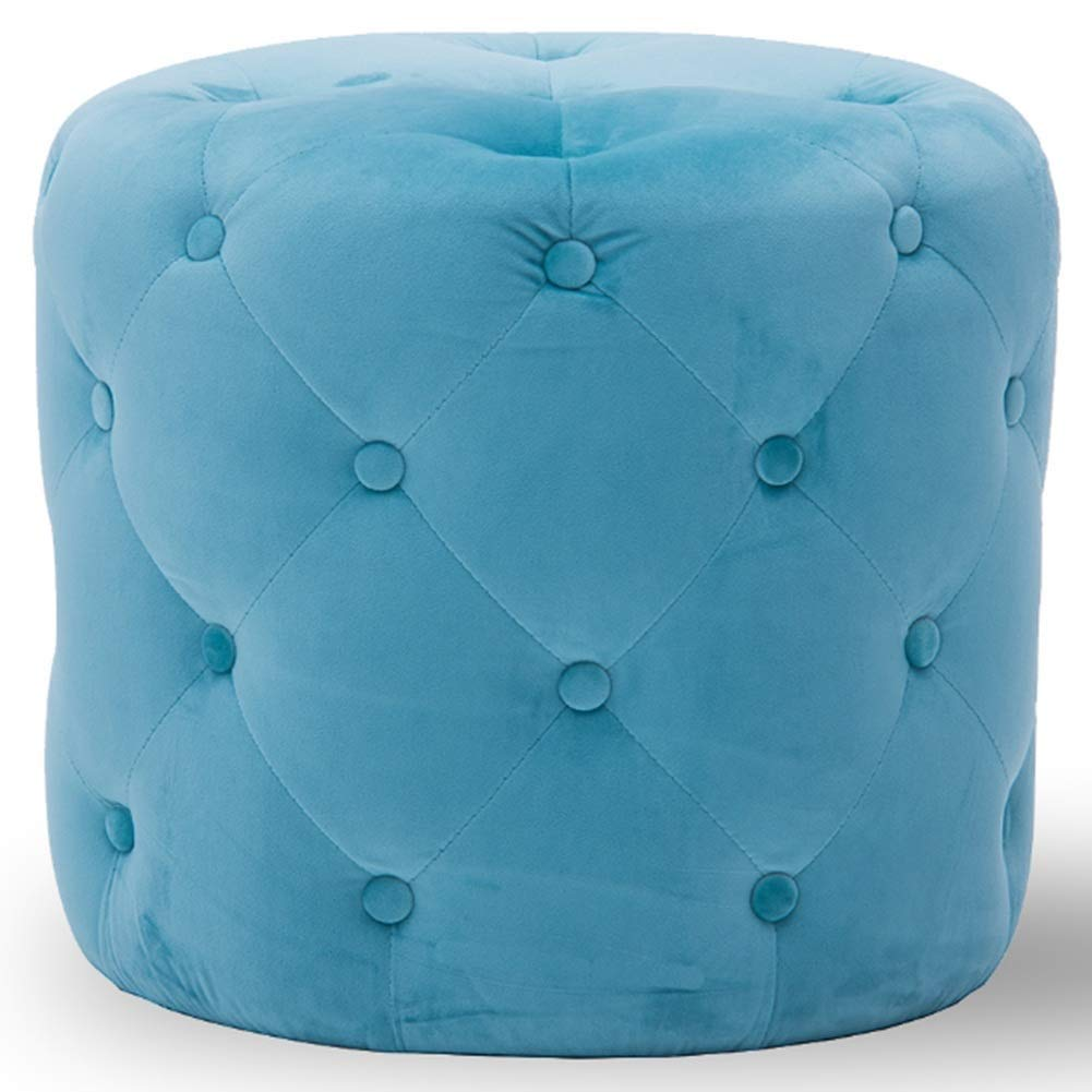 Light bluee 45x41cm Footstool Cozy Flannel Cushion Thick Sponge Wooden Frame Multifunction Portable Cylindrical 14 colors GAOFENG (color   Purple, Size   45x41cm)