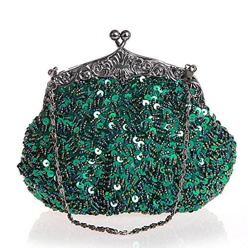 Sequins and Handmade wedding Blue Flada Evening Party Prom Handbag Rhinestone Womens Navy Girls Clutches Green Beaded SIxqwq5YC