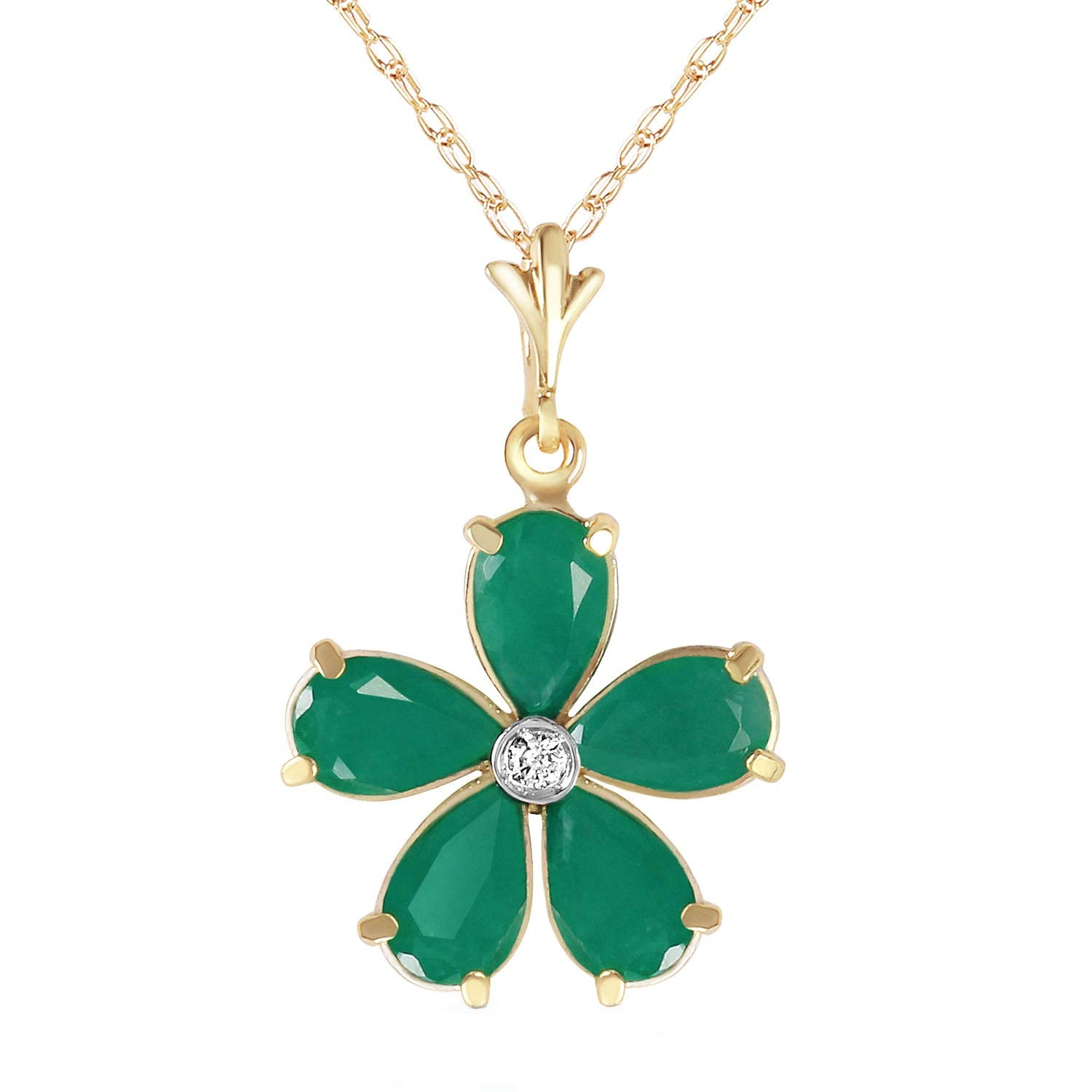 Galaxy Gold 14K 20'' Solid Yellow Gold Necklace Natural Emeralds Diamond Flower Pendant