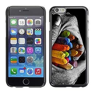 TopCaseStore / la caja del caucho duro de la cubierta de protección de la piel - Colorful Pencils Contrast - Apple iPhone 6