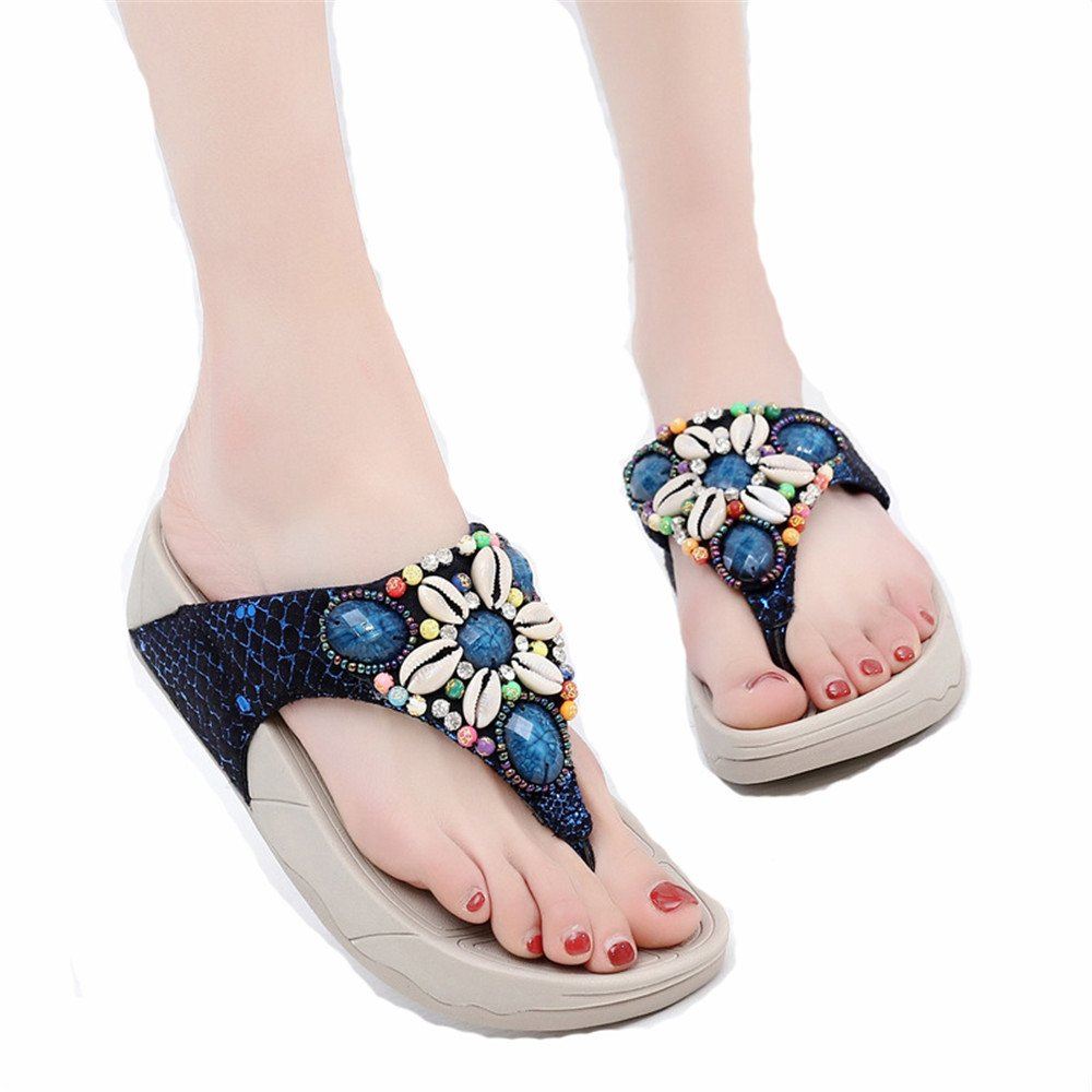 Mrsrui Fashion Women Sandals Summer Beach Flip Flops Slippers Flat Casual Slipper