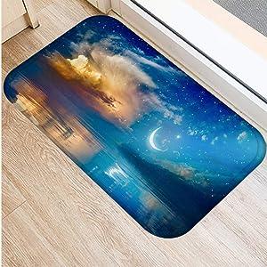 KFEKDT Moonlight Landscape 3D Floor Mat Absorbent Carpet Bathroom Kitchen Carpet Interior Doormat Home Decor (2Pcs) No-4 40cmx60cm