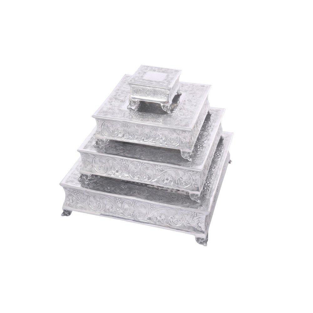 Benzara Elegantly Designed Square Cake Stand In Aluminum, Set of 4