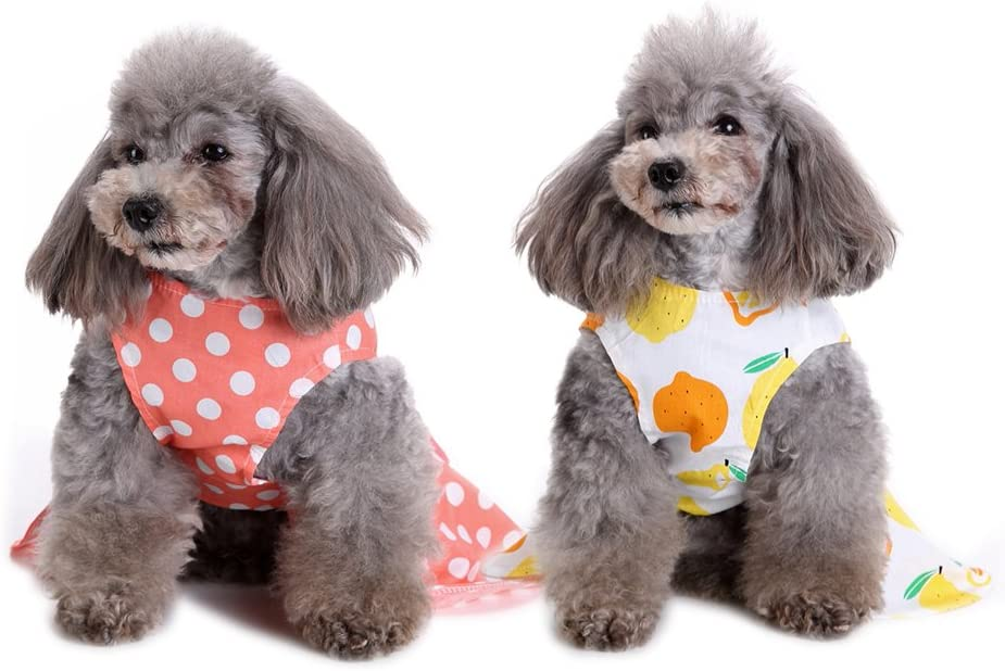 2 Pack of Elegant Ribbon Dog Dress Fashion Dog Clothes Cotton Dogs Cats Onesie Puppy Shirts Vest Pet Apparel for Small Dogs and Cats in Wedding Holiday Spring Summer