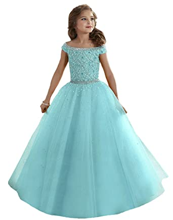 Zhiban Girls Bateau Crystal Floor Length Flower Girl Pageant Dresses US 2 Baby Blue