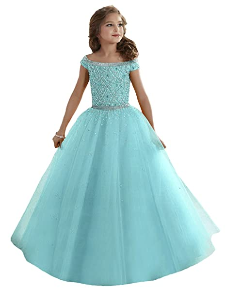 53ff23e132cf4 Zhiban Girls' Off Shoulder Evening Dresses Kids' Sequins Tulle Pageant Gowns