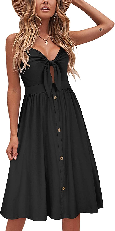 VOTEPRETTY Womens V-Neck Spaghetti Strap Dress Summer Casual Swing Sundress with Pockets