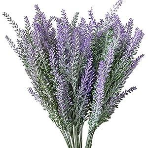 Evoio 5pcs Artificial Flocked Lavender Bouquet, DIY Bridle Flowers Arrangements Home Kitchen Garden Office Wedding Decor Floral-Purple (5) 1