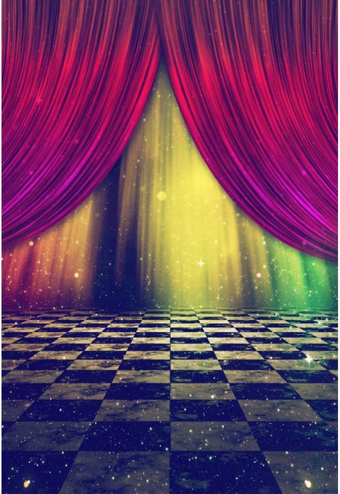 YEELE 8x12ft Dreamy Stage Backdrop Abstract Stage with Curtains and Marble Checkered Floor Photography Background Wedding Artistic Portrait Photobooth Photoshoot Props Digital Wallpaper