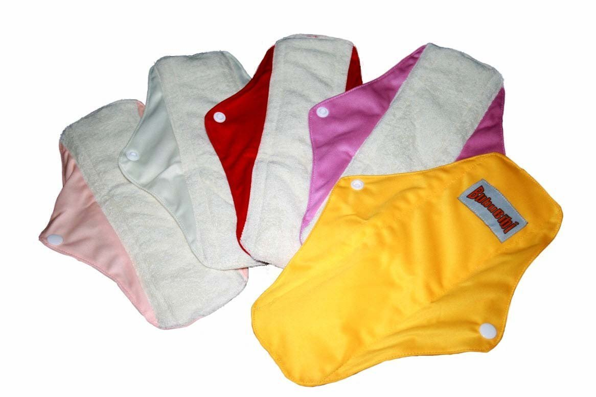 4 Bamboo Mama Cloth/ Menstrual Pads/ Reusable & Water proof Sanitary Pads / Panty Liners by ''BubuBibi'' (Red)