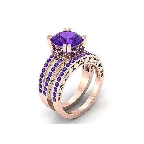 Mejor compromiso anillos de boda en 3,50 CT morado Zirconia cúbico corte redondo cristal