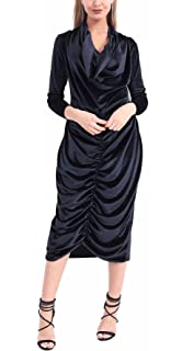 ec2b165390 Islander Fashions Womens Long Sleeve Crushed Velvet Front Ruched Long Midi  Dress Ladies Cowl Neck Fancy