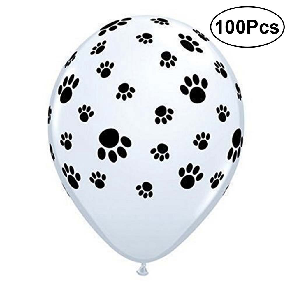 TOYMYTOY 100 Pcs Cute Dog Paw Prints Latex Balloons for Birthday Party Favors Supplies,12 Inch,White