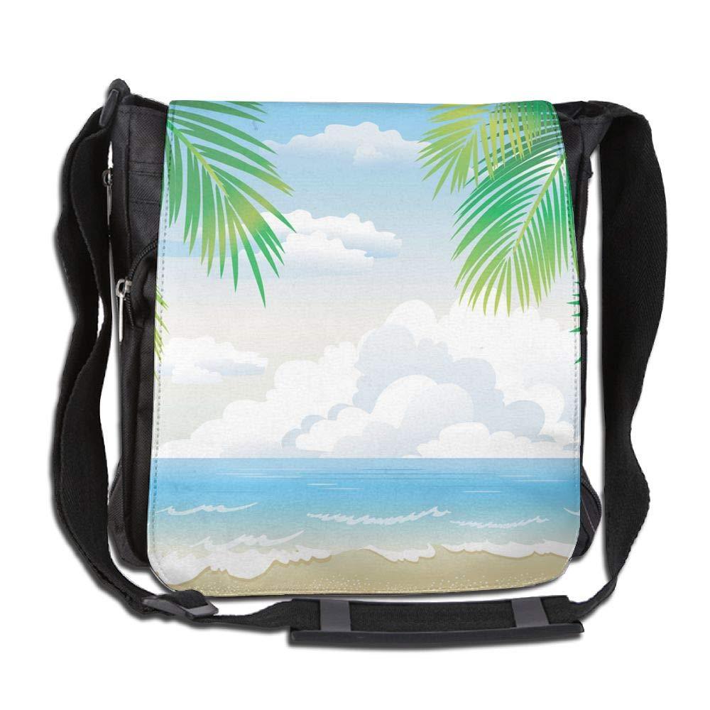 SARA NELL Messenger Bag,tropical Beach,Unisex Shoulder Backpack Cross-body Sling Bag