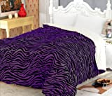 Super Soft Queen Faux Fur / Micro Fiber Reversible Blanket / Bedspread / Throw - Zebra Purple