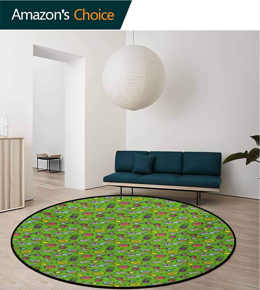 RUGSMAT Cactus Area Rugs Traditional Design,Unicorns with Plants and Food Donuts Strawberries Heart Shooting Stars Cartoon Style Round Shape Area Rugs Rug Large Round Rugs,Round-31 Inch