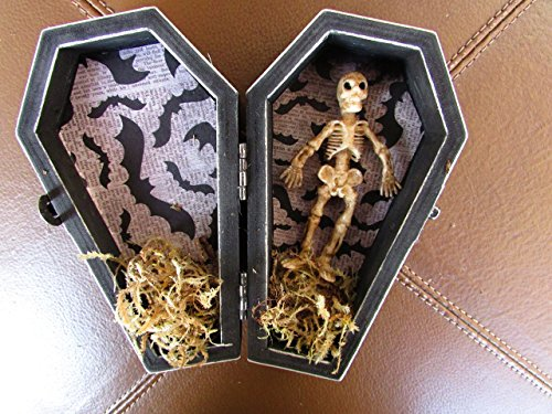 Halloween Gothic Aged Black Coffin Wedding Ring Box Ring Bearers Pillow with Skeleton Hand Skull