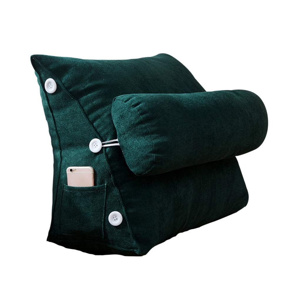 Lil Band Head Pillow Triangle Cushion, Sofa Office Bay Window Lumbar Pillow/Lumbar Support Waist/Pillow (can Be Adjusted in Three Steps) (Color : Green)