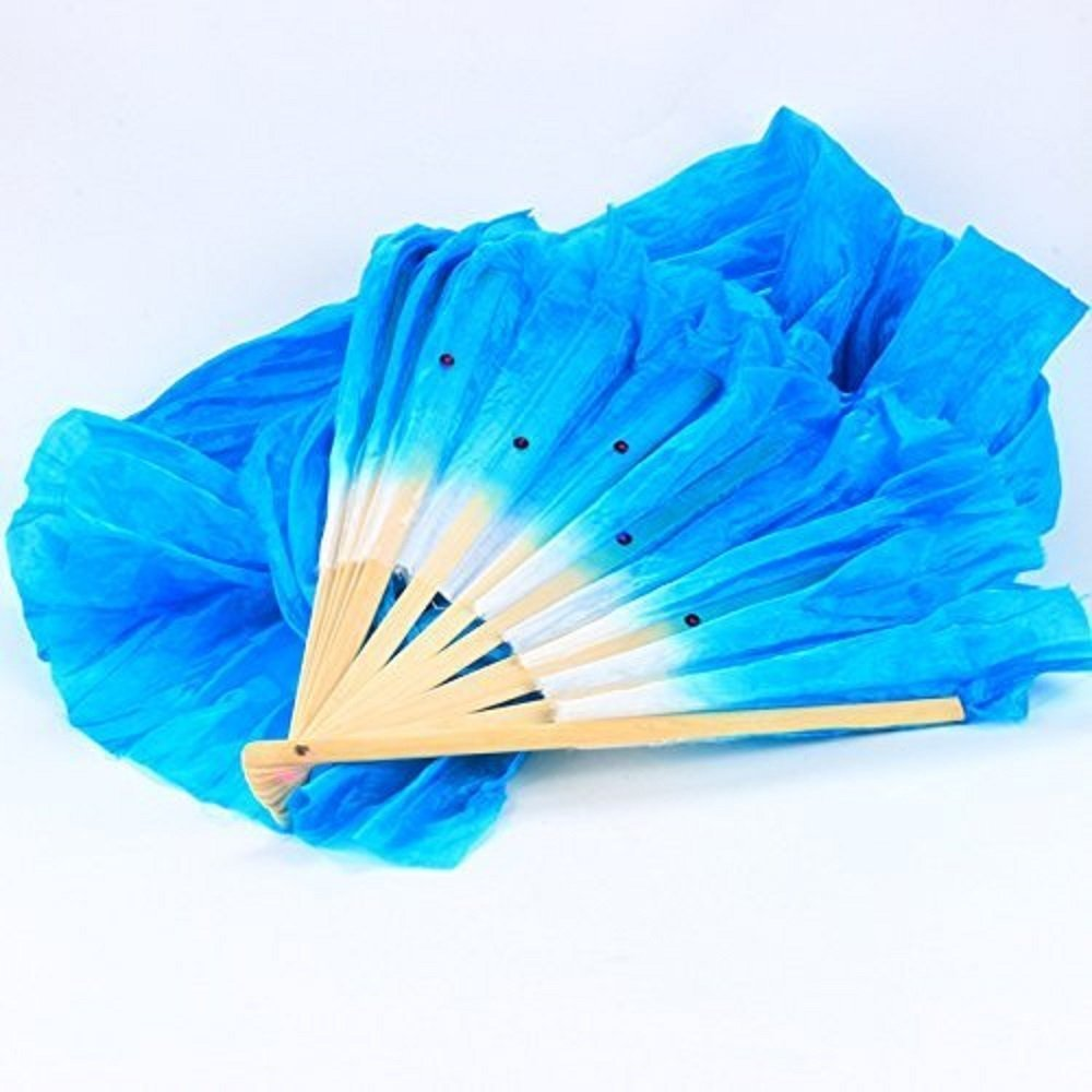 Sungpunet New 1.8M Hand Made Belly Dancing Silk Bamboo Long Fans Veils Folk Art Chinese Yangko Party Stage Performance Foldable Fan PHTL