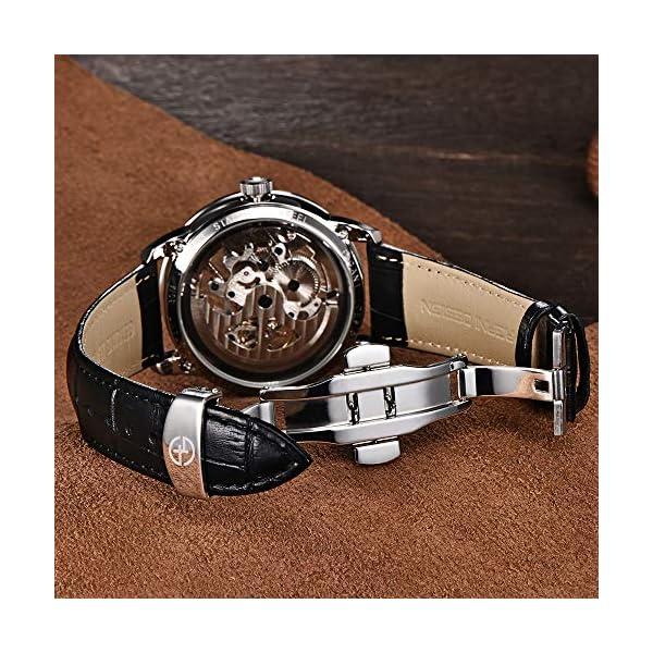BERSIGAR Montre Automatic pour Homme avec mécanisme Squelette Transparent – Montre-Bracelet étanche pour Homme pouvant…