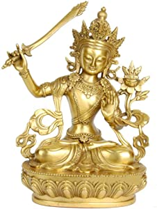 aasdf Manjushri Buddha Statue Figurine Ornaments Brass God of Wisdom Sculptures Home Office Religious Decoration Gift,Brass