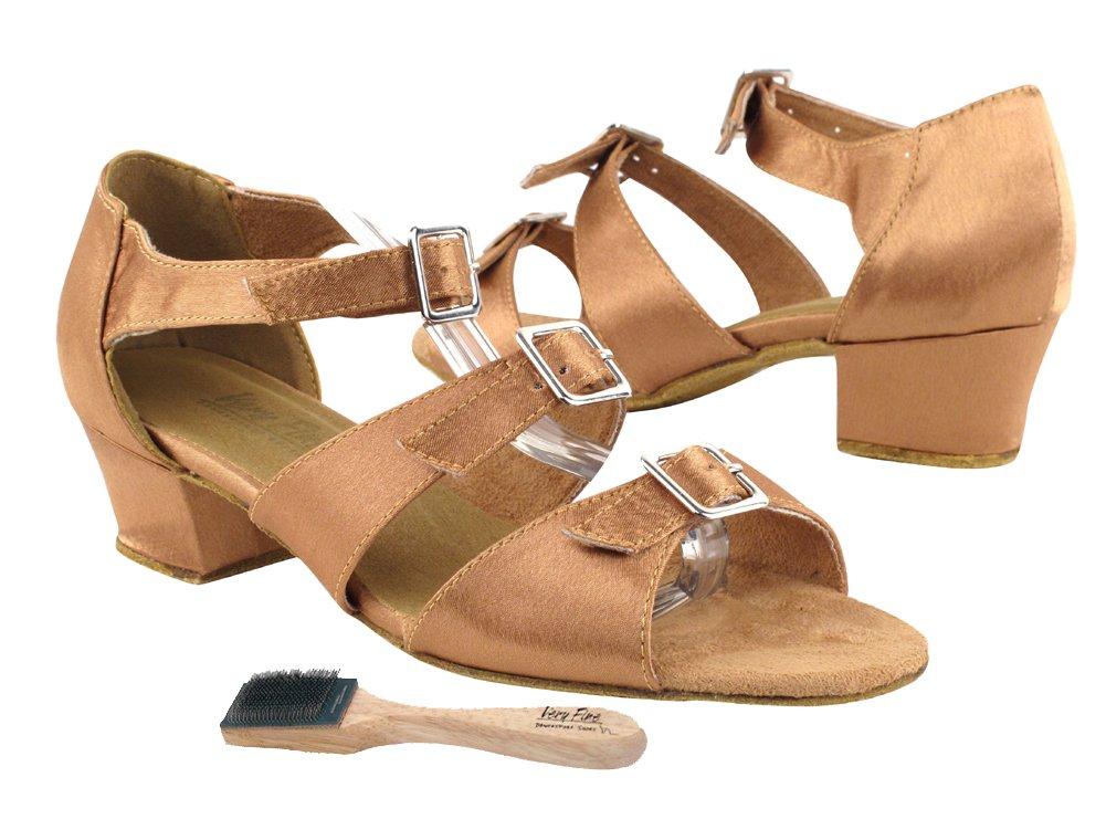 Very Fine Ladies Women Ballroom Dance Shoes EK1679 Brown Satin 1.5'' Heel (9M)