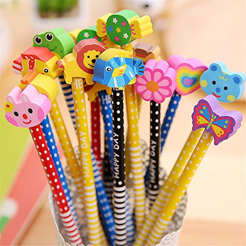 Pack of 40 Colorful Novelty Cartoon Animals' Stripe Eraser Wood Pencils 7.28'' for Office School Supplies Students Children Gift (40pcs cartoon pencil with eraser)