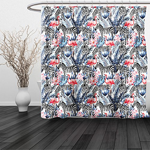 HAIXIA Shower Curtain Watercolor Exotic Flamingo Zebras and Flowers Tropic Animals Abstract Illustration Blue Black - Glasses Vercase