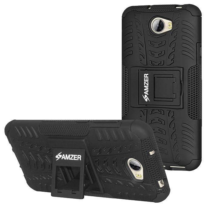 AMZER Impact Resistant Hybrid Warrior Skin for Huawei Y5II, Huawei Y5 2 -  Black