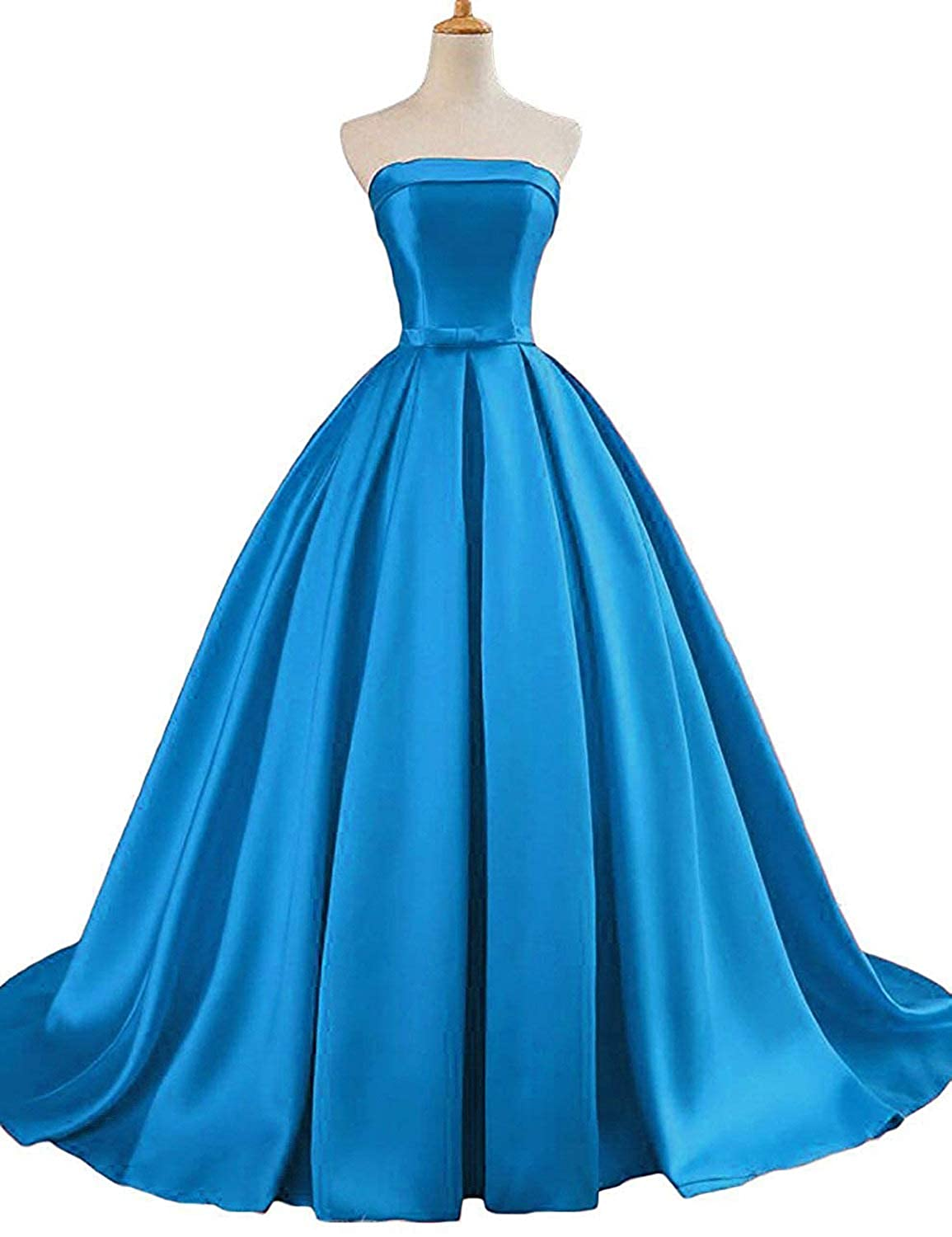 bluee Vimans Long Strapless Prom Dresses for Women Satin Wedding Party Gown D3001