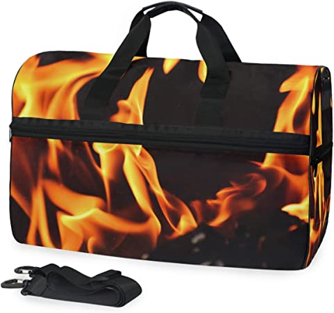 FANTAZIO Abstract Fire Dancing Sports Duffle Bag Gym Bag Travel Duffel with Adjustable Strap