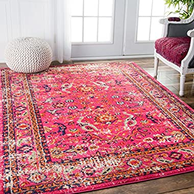 Vintage Rosy Floral Pink Area Rugs, 5 Feet 3 Inches by 7 Feet 7 Inches(5' 3  x 7' 7 )