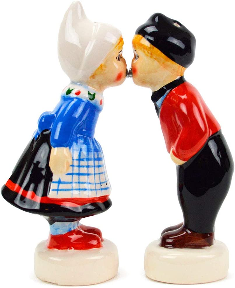 Magnetic Dutch Kissing Couple Collectible Ceramic Salt and Pepper Shakers Set by E.H.G