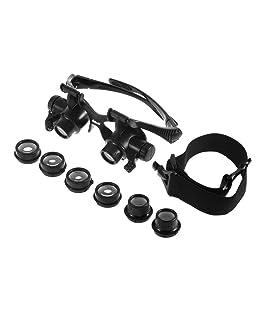 10X 15X 20X 25X LED Gafas Joyero Lupa Reparación de Relojes Lupa de Aumento