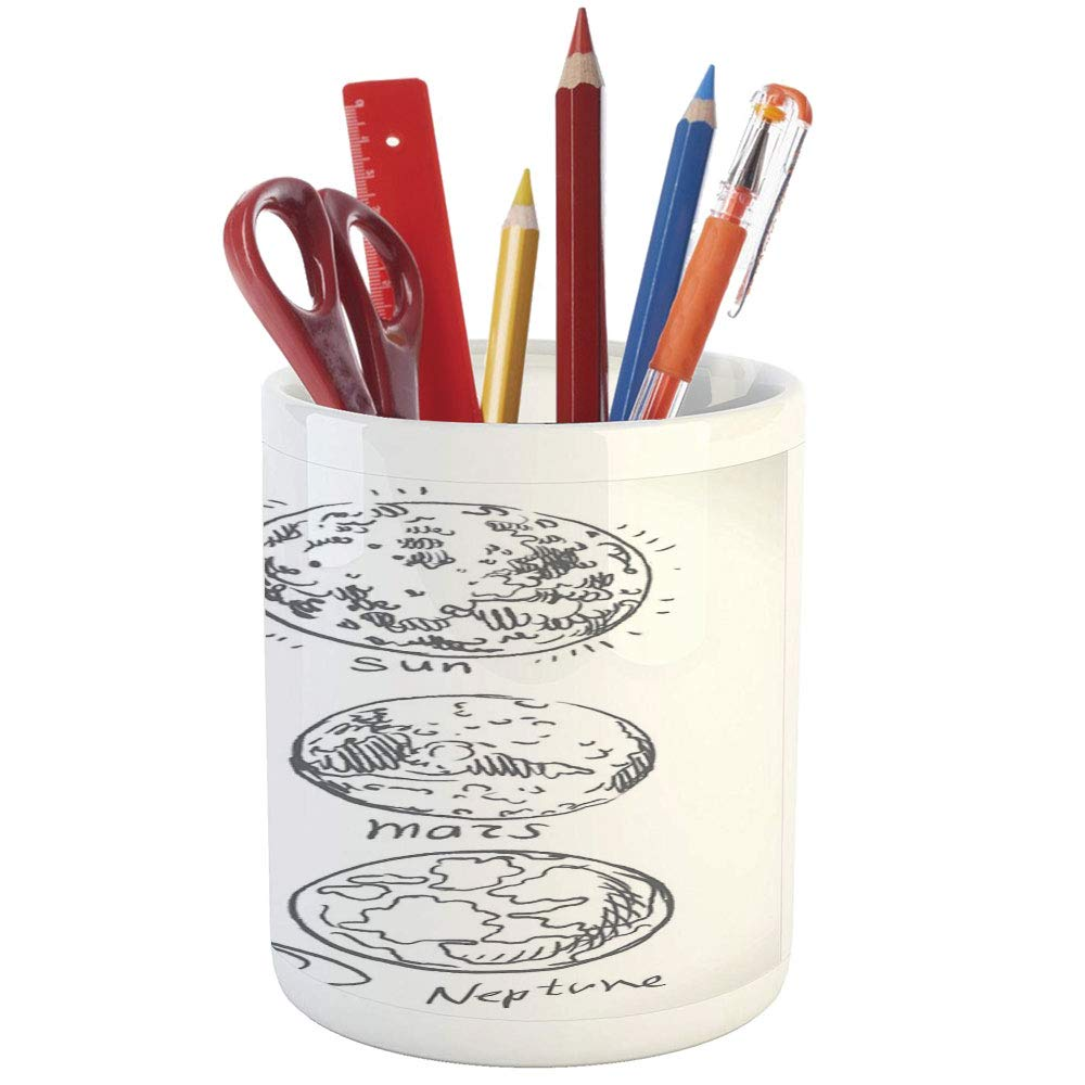 Pencil pen holderdoodleprinted ceramic pencil pen holder for desk office accessoryplanets of solar system sun mercury earth moon mars neptune saturn