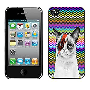 - Chevron Grumpy Cat - - Monedero pared Design Premium cuero del tir¨®n magn¨¦tico delgado del caso de la cubierta pata de ca FOR Apple iPhone 4 4S 4G Funny House