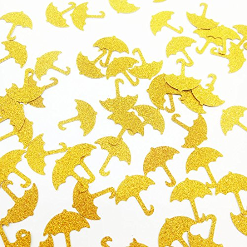 Paity Umbrella Confetti, Gold , baby shower decor, baby boy, bridal shower, shower invitation, umbrella confetti, its a boy, glitter 100pcs of 1
