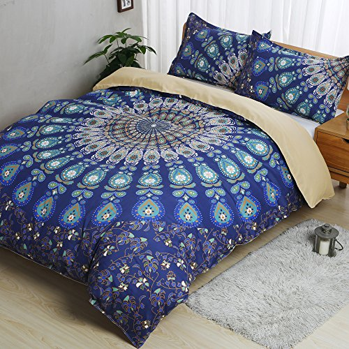 best AILOVYO Bohemia Mandala Bedding Duvet Cover Set with Zipper - 3 Piece (1 Duvet Cover + 2 Pillow Shams) Cotton Comforter Cover Set - Queen