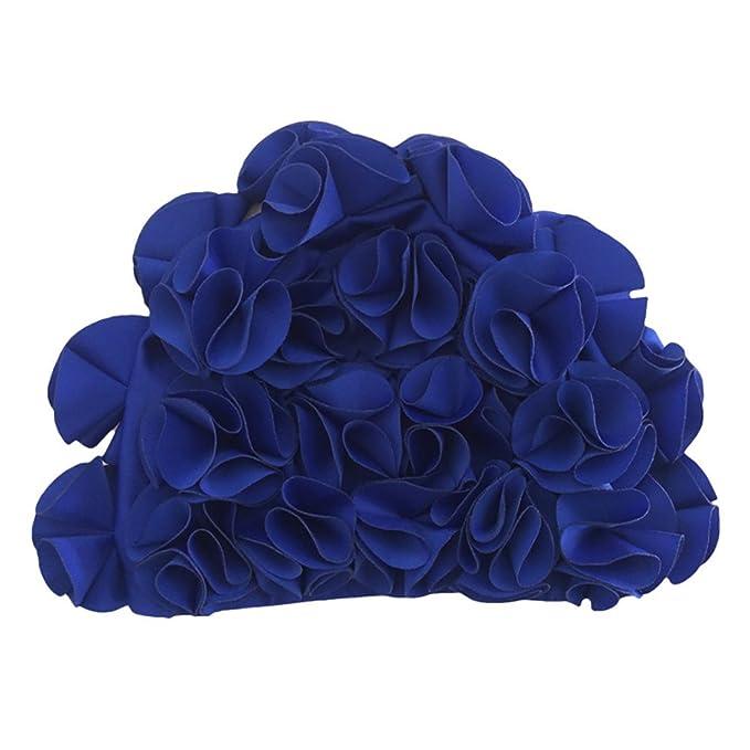 ENCOCO /élastique Bonnet de Bain p/étales de Trois Dimensions Belle Fleur pour Adulte Haute qualit/é Soin des Cheveux Casquette pour Femme