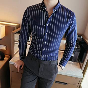 CHENS Camisa/Casual/Unisex/Camisa de Vestir de Rayas a Rayas Verticales XXL para Hombre Camisa de Manga Larga Elegante y cómoda de algodón con Manga Larga Slifit Smart Casual Buttondown: Amazon.es: Deportes y aire