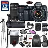 Canon EOS 6D Mark II DSLR Camera with Canon EF 24-105mm f/4L IS II USM Lens & Canon EF 75-300mm f/4-5.6 III Lens, TTL Flash, Tripod, Mono-Pod, Battery Grip + Professional Accessory Bundle